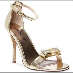 Madden Girl. Sparkle Bow Ankle Strap Heels